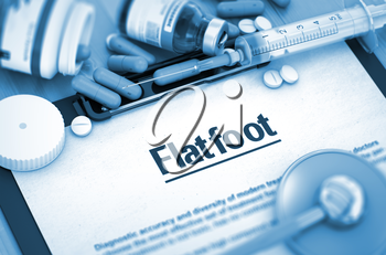 Flatfoot - Medical Report with Composition of Medicaments - Pills, Injections and Syringe. 3D Render.