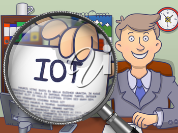 IOT - Internet of Thing - through Lens. Business Man Showing Text on Paper. Closeup View. Colored Doodle Illustration.