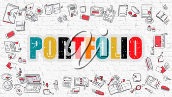 Portfolio. Multicolor Inscription on White Brick Wall with Doodle Icons Around. Portfolio Concept. Modern Style Illustration with Doodle Design Icons. Portfolio on White Brickwall Background.