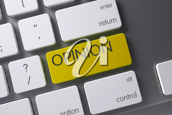 Opinion Concept Aluminum Keyboard with Opinion on Yellow Enter Keypad Background, Selected Focus. 3D Illustration.