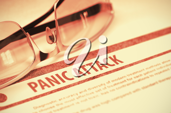 Panic Attack - Printed Diagnosis on Red Background and Spectacles Lying on It. Medical Concept. Blurred Image. 3D Rendering.