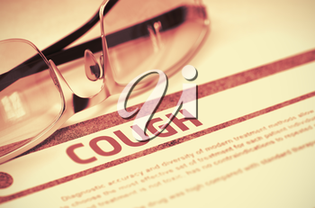 Cough - Printed Diagnosis with Blurred Text on Red Background with Specs. Medical Concept. Cough - Medical Concept on Red Background with Blurred Text and Composition of Glasses. 3D Rendering.