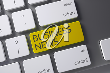 Business News Concept: Slim Aluminum Keyboard with Business News, Selected Focus on Yellow Enter Keypad. 3D Render.