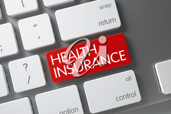 Concept of Health Insurance, with Health Insurance on Red Enter Keypad on Modern Laptop Keyboard. 3D Render.