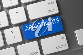 Apartments Concept Metallic Keyboard with Apartments on Blue Enter Button Background, Selected Focus. 3D Render.