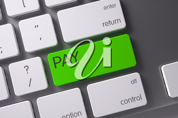 Pay Concept: Modern Laptop Keyboard with Pay, Selected Focus on Green Enter Button. 3D Illustration.
