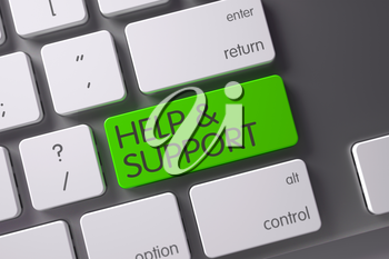 Help and Support Concept: Modernized Keyboard with Help and Support, Selected Focus on Green Enter Button. 3D Render.