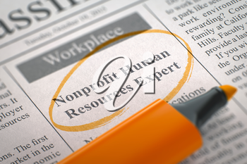 Nonprofit Human Resources Expert - Jobs in Newspaper, Circled with a Orange Marker. Blurred Image. Selective focus. Concept of Recruitment. 3D Render.
