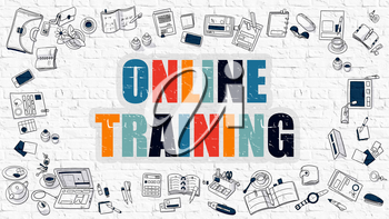 Online Training - Multicolor Concept with Doodle Icons Around on White Brick Wall Background. Modern Illustration with Elements of Doodle Design Style.