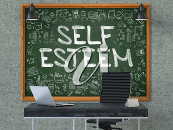 Self Esteem - Hand Drawn on Green Chalkboard in Modern Office Workplace. Illustration with Doodle Design Elements. 3D.