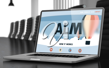 Alm on Landing Page of Laptop Screen. Closeup View. Modern Meeting Room Background. Blurred. Toned Image. 3D Illustration.