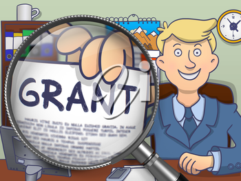 Grant. Text on Paper in Man's Hand through Lens. Colored Modern Line Illustration in Doodle Style.