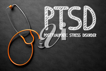 Medical Concept: PTSD - Posttraumatic Stress Disorder - Text on Black Chalkboard with Orange Stethoscope. Medical Concept: Black Chalkboard with PTSD - Posttraumatic Stress Disorder. 3D Rendering.