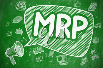 MRP - Materials Requirement Planning on Speech Bubble. Doodle Illustration of Yelling Mouthpiece. Advertising Concept.