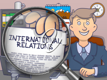 International Relations. Officeman Showing Concept on Paper through Magnifier. Multicolor Modern Line Illustration in Doodle Style.