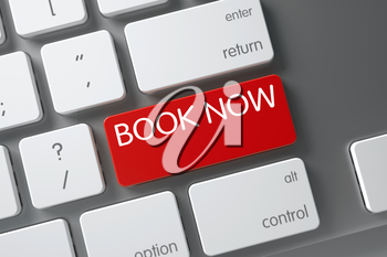 Book Now Concept Modern Laptop Keyboard with Book Now on Red Enter Key Background, Selected Focus. 3D.