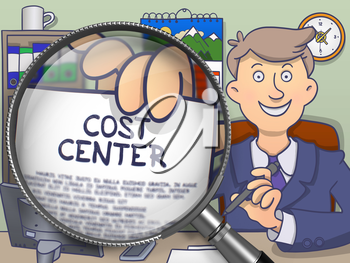 Officeman Showing a Paper with Inscription Cost Center. Closeup View through Magnifying Glass. Multicolor Modern Line Illustration in Doodle Style.