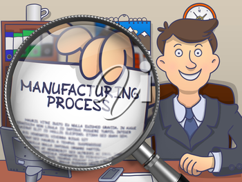 Business Man in Office Workplace Holding a Concept on Paper Manufacturing Process. Closeup View through Lens. Colored Doodle Illustration.