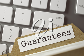 Guarantees. Folder Index on Background of White PC Keypad. Archive Concept. Closeup View. Toned Blurred  Illustration. 3D Rendering.