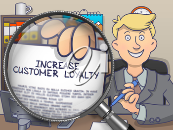Increase Customer Loyalty on Paper in Business Man's Hand through Lens to Illustrate a Business Concept. Multicolor Modern Line Illustration in Doodle Style.