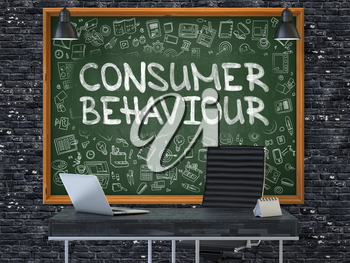Consumer Behaviour - Hand Drawn on Green Chalkboard in Modern Office Workplace. Illustration with Doodle Design Elements. 3d.