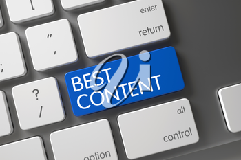Best Content Concept Computer Keyboard with Best Content on Blue Enter Button Background, Selected Focus. 3D.