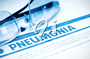 Pneumonia - Medical Concept on Blue Background with Blurred Text and Composition of Glasses. Pneumonia - Medical Concept with Blurred Text and Specs on Blue Background. Selective Focus. 3D Rendering.