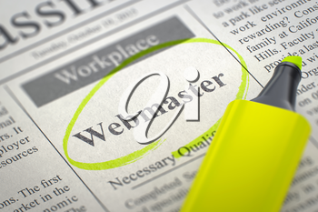 A Newspaper Column in the Classifieds with the Jobs Section Vacancy of Webmaster, Circled with a Yellow Highlighter. Blurred Image. Selective focus. Hiring Concept. 3D Rendering.