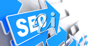 SEO on Blue Arrow on a Grey Background. Internet Concept.
