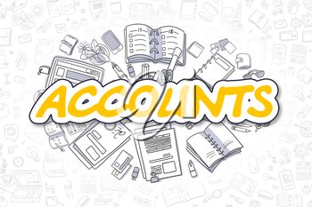 Yellow Text - Accounts. Business Concept with Doodle Icons. Accounts - Hand Drawn Illustration for Web Banners and Printed Materials.
