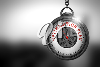 Business Concept: Optimization Plan on Vintage Pocket Watch Face with Close View of Watch Mechanism. Vintage Effect. Optimization Plan Close Up of Red Text on the Watch Face. 3D Rendering.