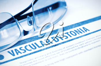Vascular Dystonia - Medical Concept on Blue Background with Blurred Text and Composition of Eyeglasses. 3D Rendering.