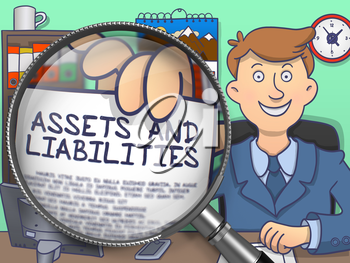 Assets and Liabilities on Paper in Businessman's Hand through Magnifying Glass to Illustrate a Business Concept. Multicolor Doodle Style Illustration.