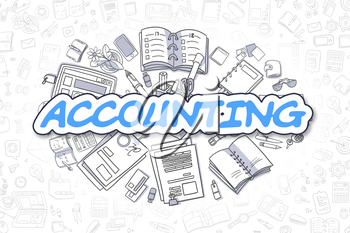Business Illustration of Accounting. Doodle Blue Word Hand Drawn Doodle Design Elements. Accounting Concept.