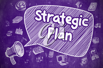 Shrieking Mouthpiece with Text Strategic Plan on Speech Bubble. Doodle Illustration. Business Concept. Strategic Plan on Speech Bubble. Doodle Illustration of Shouting Megaphone. Advertising Concept.