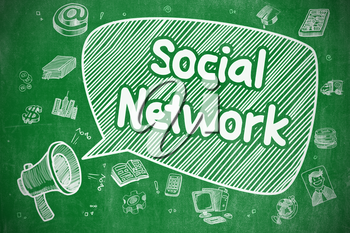 Speech Bubble with Phrase Social Network Hand Drawn. Illustration on Green Chalkboard. Advertising Concept.