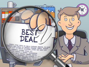 Best Deal on Paper in Businessman's Hand through Lens to Illustrate a Business Concept. Multicolor Doodle Illustration.
