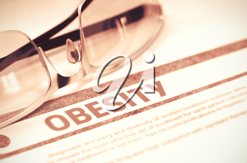 Obesity - Printed Diagnosis with Blurred Text on Red Background with Eyeglasses. Medicine Concept. 3D Rendering.