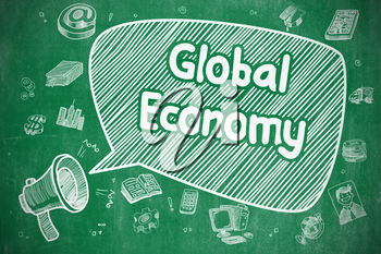 Business Concept. Mouthpiece with Wording Global Economy. Cartoon Illustration on Green Chalkboard. Global Economy on Speech Bubble. Cartoon Illustration of Yelling Megaphone. Advertising Concept.