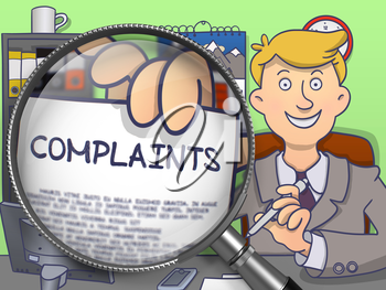Complaints through Lens. Officeman Showing a Paper with Concept. Closeup View. Multicolor Doodle Illustration.