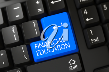 Financial Education on Computer Keyboard Background. 3D Render.
