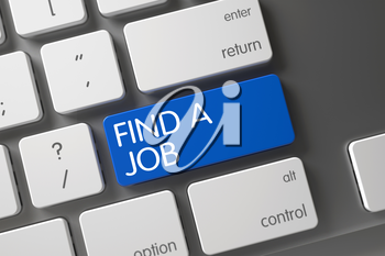 Find A Job Concept Metallic Keyboard with Find A Job on Blue Enter Button Background, Selected Focus. 3D.