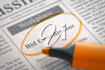 Newspaper with Vacancy Bid Coordinator. Blurred Image. Selective focus. Concept of Recruitment. 3D Render.