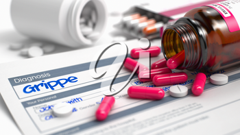Grippe Phrase in Anamnesis. CloseUp View of Medical Concept. Handwritten Diagnosis Grippe in the Anamnesis. Medicaments Composition of Blister of Red Pills, Blister of Pills and Bottle of Tablets. 3D.