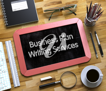 Top View of Office Desk with Stationery and Red Small Chalkboard with Business Concept - Business Plan Writing Services. Business Plan Writing Services Concept on Small Chalkboard. 3d Rendering.