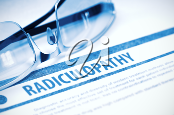 Radiculopathy - Medicine Concept with Blurred Text and Spectacles on Blue Background. Selective Focus. 3D Rendering.