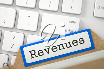Revenues. Blue Archive Bookmarks of Card Index on Background of White Modern Computer Keyboard. Business Concept. Closeup View. Selective Focus. 3D Rendering.