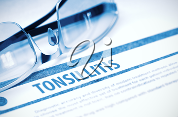 Tonsillitis - Medical Concept with Blurred Text and Eyeglasses on Blue Background. Selective Focus. 3D Rendering.