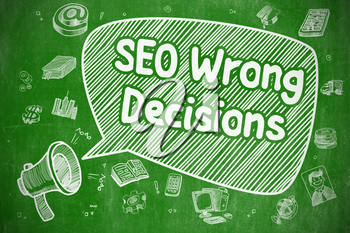 SEO Wrong Decisions on Speech Bubble. Cartoon Illustration of Yelling Loudspeaker. Advertising Concept.