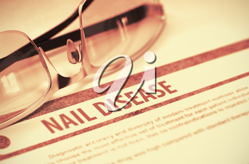 Nail Disease - Printed Diagnosis on Red Background and Glasses Lying on It. Medicine Concept. Blurred Image. 3D Rendering.